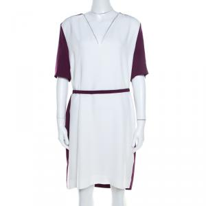 Victoria Victoria Beckham Purple and White Belted Shift Dress L - used