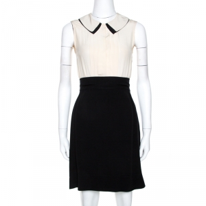Victoria Victoria Beckham Bicolor Silk Pleated Detail Dress S