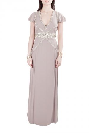 Viktor & Rolf Soir Mauve Silk Crystal Embellished Layered Flutter Sleeve Evening Gown S used