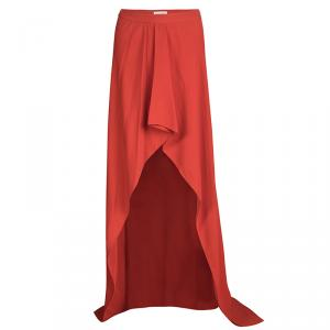 Vionnet Coral Red Layered Maxi Skirt M