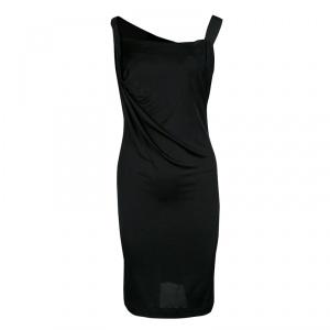 Vivienne Westwood Anglomania Black Jersey Asymmetric Draped Sleeveless Dress XS
