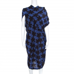 Vivienne Westwood Anglomania Blue and Black Printed Draped Asymmetric Dress M