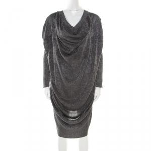 Vivienne Westwood Anglomania Metallic Grey Draped Sweater Dress M