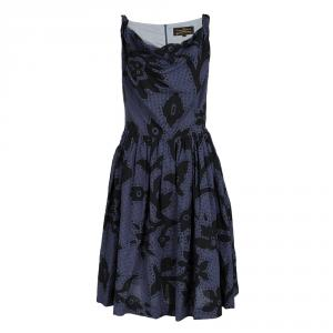 Vivienne Westwood Anglomania Navy Blue Checkered Floral Printed Sleeveless Dress M