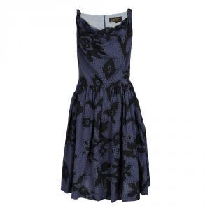 فستان فيفيان ويستوود أنغلومانيا كاروهات أزرق كحلي مورد مطبوع بلا أكمام M