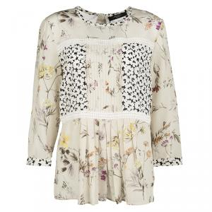 Weekend Max Mara Beige Floral Printed Silk Pleat Detail Botanical Blouse M