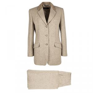 Weekend Max Mara Beige Wool Chevron Pattern Suit M