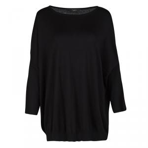 Weekend Max Mara Black Silk Cotton Knit Ribbed Hem Top XL