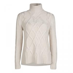 Weekend Max Mara Beige Chunky Knit Turtle Neck Eden Sweater M