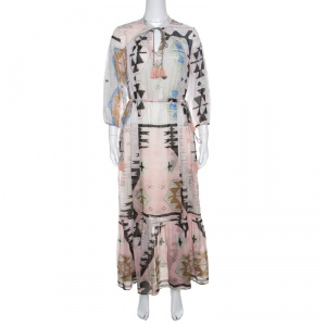 Weekend Max Mara Multicolor Geometric Print Tasseled Tie Detail Dress M