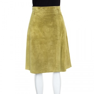 Weekend Max Mara Green Suede Slit Detail Skirt S