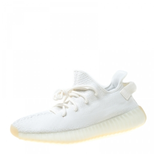 Yeezy x Adidas Cream White Cotton Knit Boost 350 V2 Sneakers Size 37.5