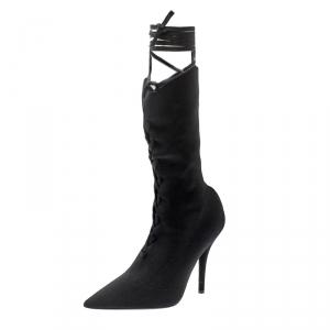 Yeezy Season 5 Black Knit Sock Lace Up Boots Size 38.5