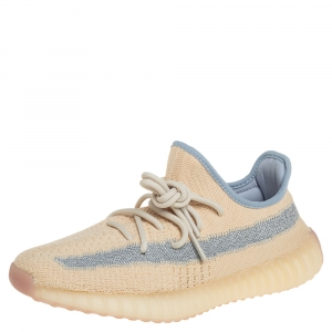 Yeezy x adidas Light Beige Knit Fabric Boost 350 V2 Linen Sneakers Size 39 1/3