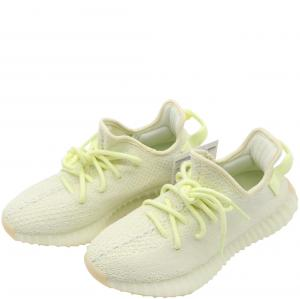 Yeezy x Adidas Yellow/Cream White Cotton Knit Boost 350 V2 Sneakers Size 35.5