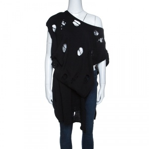 Y's Yohji Yamamoto Black Destroyed Wool Asymmetric Wrap Tunic S