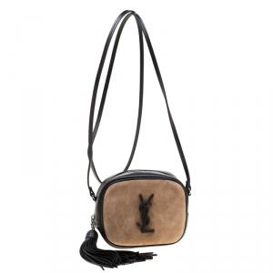 Saint Laurent Paris Brown/Black Suede and Leather Blogger Crossbody Bag