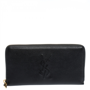 Saint Laurent Black Leather Belle De Jour Zip Around  Wallet