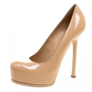 Saint Laurent Paris Beige Patent Leather Tribtoo Platform Pumps Size 42