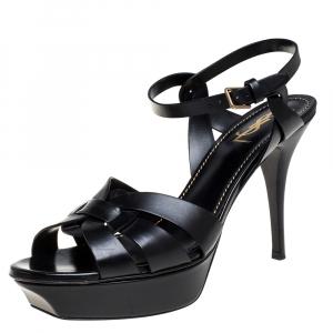 Yves Saint Laurent Black Leather Tribute Platform Sandals Size 41
