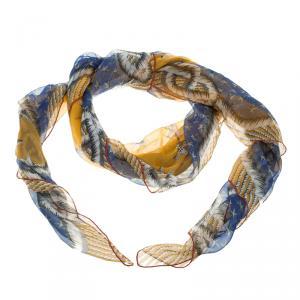Yves Saint Laurent Paris Multicolor Starfish Print Silk Scarf