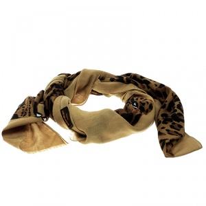 Yves Saint Laurent Paris Vintage Brown Cheetah Figure Print Shawl
