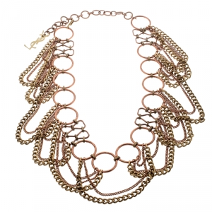 Yves Saint Laurent Two Tone Metal Encircled Chain Link Belt