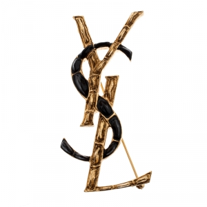 Yves Saint Laurent Gold Plated Opyum YSL Crocodile Pin Brooch