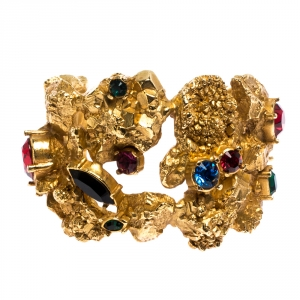 Yves Saint Laurent Vintage Yellow Gold Tone Crystal Studded Open Cuff Bracelet