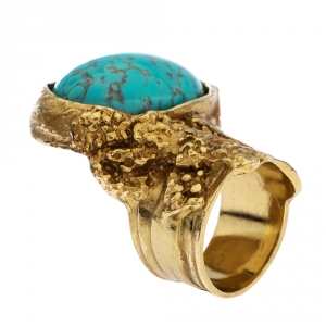 Yves Saint Laurent Arty Turquoise Glass Cabochon Gold Tone Ring Size 52