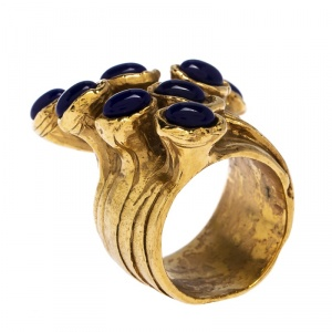 Yves Saint Laurent Arty Dots Blue Cabochon Gold Tone Ring Size 52