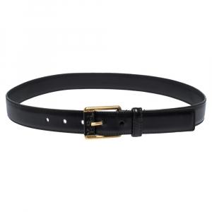Yves Saint Laurent Black Leather Belt 90CM