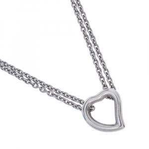 Yves Saint Laurent Heart Motif Silver Double Strand Necklace