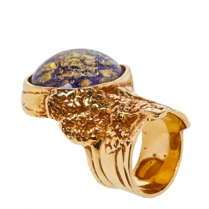 Yves Saint Laurent Arty Glass Cabochon Gold Tone Cocktail Ring Size 54