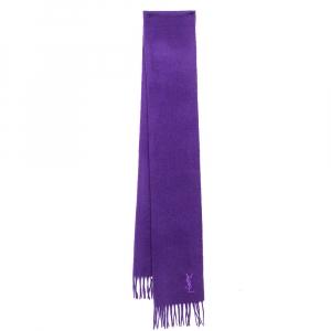Yves Saint Laurent Purple Fringed Wool Scarf