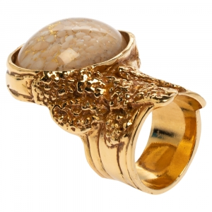 Yves Saint Laurent White & Pink Inlay Gold Tone Arty Ring Size EU 52