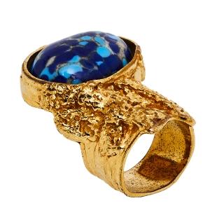 Yves Saint Laurent Blue Glass Cabochon Arty Ring Size EU 57