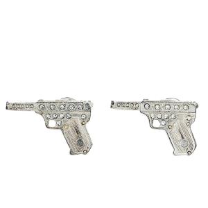 Yves Saint Laurent Vintage Silver Tone Crystal Pair of Gun Brooches