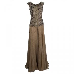 Yves Saint Laurent Snakeskin Printed Silk Layered Embellished Sleeveless Gown S used