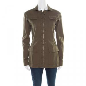 Saint Laurent Paris Khaki Green Cotton Lace Up Detail Safari Jacket M