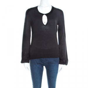 Yves Saint Laurent Black Wool Keyhole Neck Long Sleeve Sweater M - used