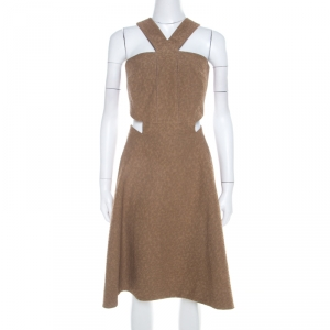 Yves Saint Laurent Brown Textured Cotton Cut Out Detail Flared Dress M - used