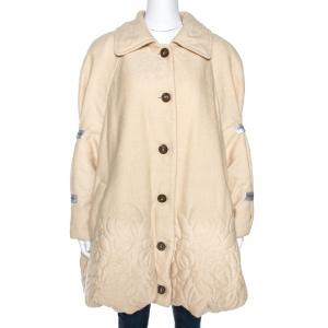 Yves Saint Laurent Variation Vintage Cream Silk Blend Coat L