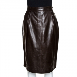 Yves Saint Laurent Rive Gauche Brown Leather Pencil Skirt L
