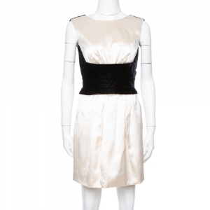 Yves Saint Laurent Cream Silk Velvet Trim Sleeveless Dress S - used