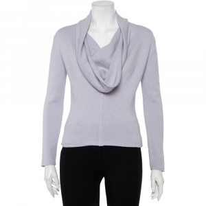 Yves Saint Laurent Rive Gauche Lilac Angora & Wool Cowl Neck Sweater S - used