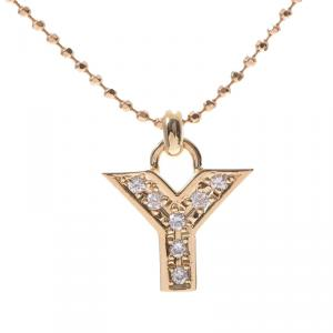 Yves Saint Laurent 18K Yellow Gold and Diamond Initial Necklace