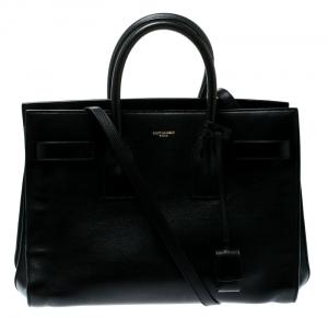 Saint Laurent Paris Black Leather Small Sac De Jour Tote