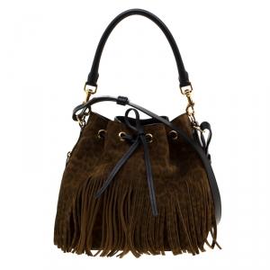 Saint Laurent Paris Brown Leopard Print Suede Emmanuelle Fringed Bucket Bag