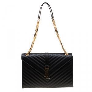 Saint Laurent Paris Black Quilted Chevron Leather Large Cassandre Chain Bag
